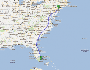 Similiar Map Of Route From Florida To New York Keywords